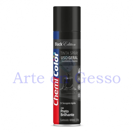 TINTA SPRAY PRETO BRILHANTE - 400ML